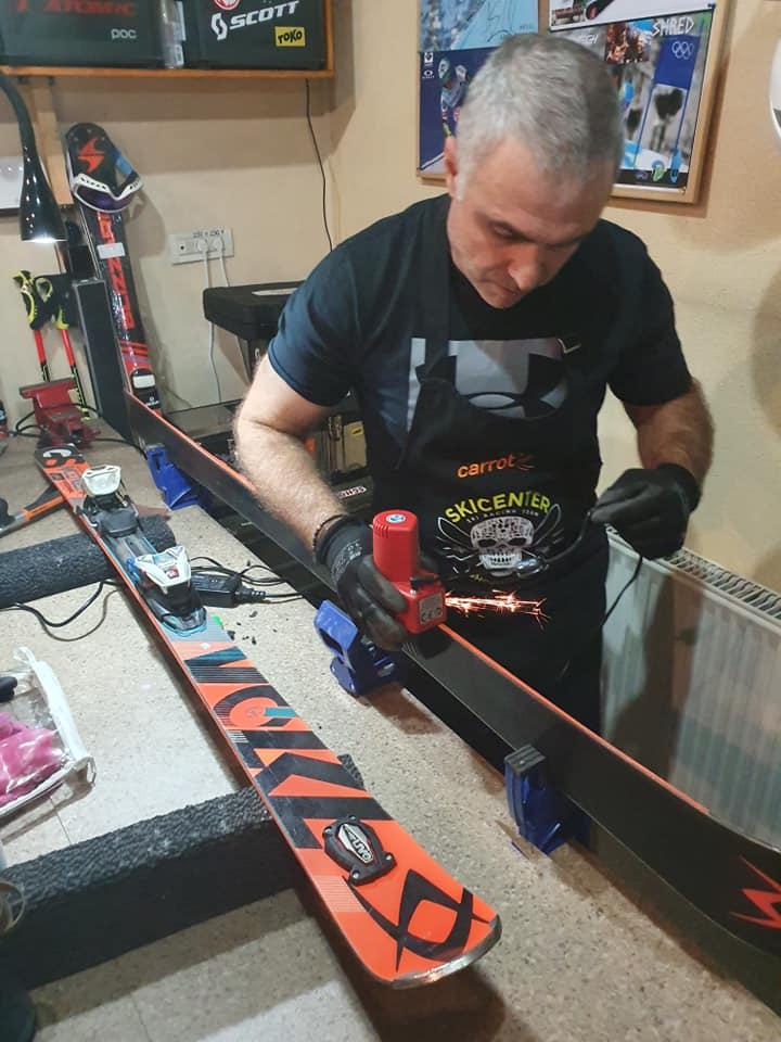 Ski sharping edge at ski rental shop in Poiana Brasov